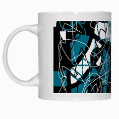 Blue, black and white abstract art White Mugs