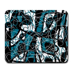 Blue, black and white abstract art Large Mousepads