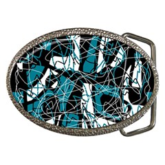 Blue, black and white abstract art Belt Buckles