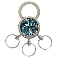 Blue, black and white abstract art 3-Ring Key Chains