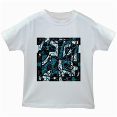 Blue, black and white abstract art Kids White T-Shirts