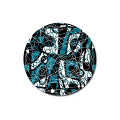 Blue, black and white abstract art Magnet 3  (Round)