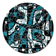 Blue, black and white abstract art Magnet 5  (Round)