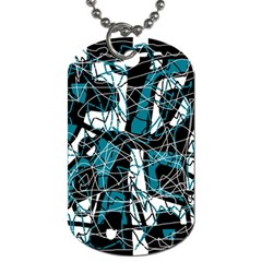 Blue, black and white abstract art Dog Tag (One Side)