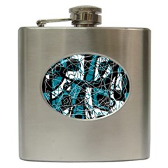 Blue, black and white abstract art Hip Flask (6 oz)