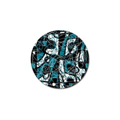 Blue, black and white abstract art Golf Ball Marker