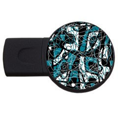 Blue, black and white abstract art USB Flash Drive Round (2 GB)
