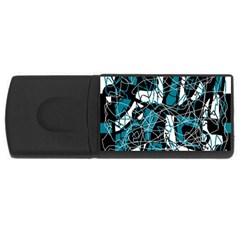 Blue, black and white abstract art USB Flash Drive Rectangular (1 GB)