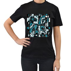 Blue, black and white abstract art Women s T-Shirt (Black) (Two Sided)