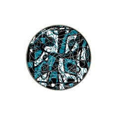 Blue, black and white abstract art Hat Clip Ball Marker