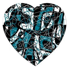 Blue, Black And White Abstract Art Jigsaw Puzzle (heart)