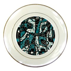Blue, black and white abstract art Porcelain Plates