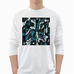 Blue, black and white abstract art White Long Sleeve T-Shirts