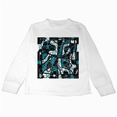 Blue, black and white abstract art Kids Long Sleeve T-Shirts