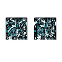Blue, black and white abstract art Cufflinks (Square)