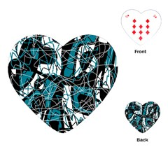 Blue, black and white abstract art Playing Cards (Heart)