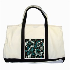Blue, black and white abstract art Two Tone Tote Bag