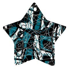 Blue, black and white abstract art Star Ornament (Two Sides)