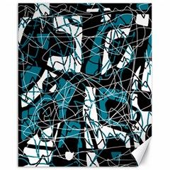 Blue, black and white abstract art Canvas 16  x 20