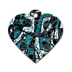 Blue, black and white abstract art Dog Tag Heart (Two Sides)