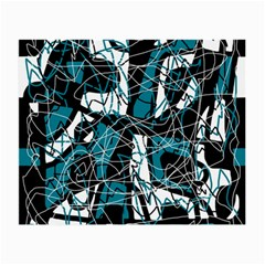 Blue, black and white abstract art Small Glasses Cloth (2-Side)