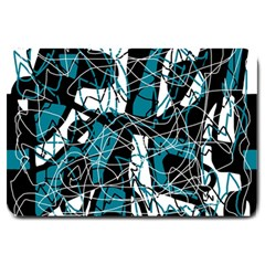 Blue, black and white abstract art Large Doormat
