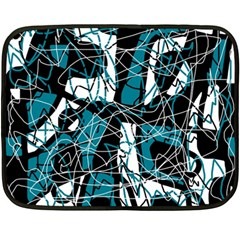 Blue, black and white abstract art Fleece Blanket (Mini)