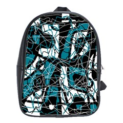 Blue, black and white abstract art School Bags(Large)