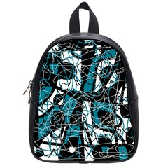 Blue, black and white abstract art School Bags (Small)