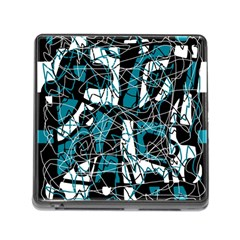 Blue, black and white abstract art Memory Card Reader (Square)