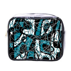 Blue, black and white abstract art Mini Toiletries Bags