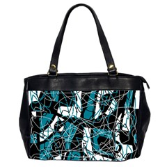 Blue, black and white abstract art Office Handbags (2 Sides)