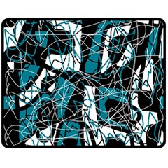 Blue, black and white abstract art Fleece Blanket (Medium)