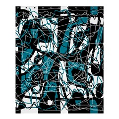 Blue, black and white abstract art Shower Curtain 60  x 72  (Medium)