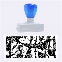Blue, black and white abstract art Rubber Stamps (Large)