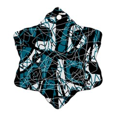 Blue, black and white abstract art Ornament (Snowflake)