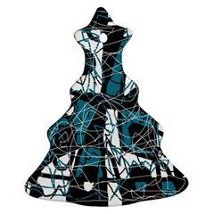 Blue, black and white abstract art Ornament (Christmas Tree)
