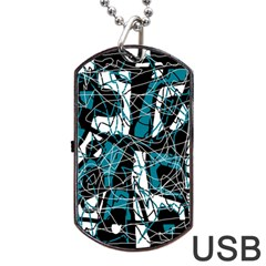 Blue, black and white abstract art Dog Tag USB Flash (Two Sides)