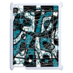 Blue, black and white abstract art Apple iPad 2 Case (White)