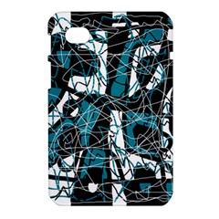Blue, black and white abstract art Samsung Galaxy Tab 7  P1000 Hardshell Case