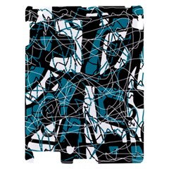 Blue, black and white abstract art Apple iPad 2 Hardshell Case