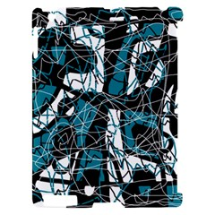 Blue, black and white abstract art Apple iPad 2 Hardshell Case (Compatible with Smart Cover)