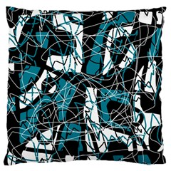 Blue, black and white abstract art Large Cushion Case (One Side)