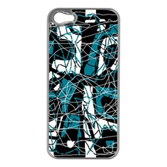 Blue, black and white abstract art Apple iPhone 5 Case (Silver)