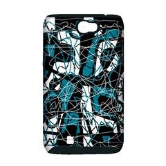 Blue, black and white abstract art Samsung Galaxy Note 2 Hardshell Case (PC+Silicone)