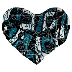 Blue, black and white abstract art Large 19  Premium Heart Shape Cushions