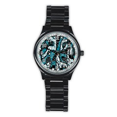 Blue, black and white abstract art Stainless Steel Round Watch