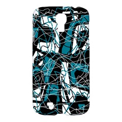 Blue, black and white abstract art Samsung Galaxy S4 I9500/I9505 Hardshell Case