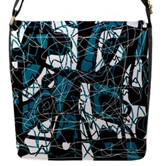 Blue, black and white abstract art Flap Messenger Bag (S)