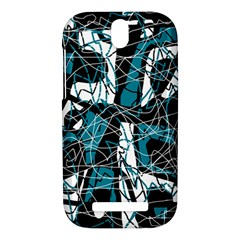 Blue, black and white abstract art HTC One SV Hardshell Case